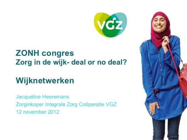ZONH-congres 2012: Presentatie VGZ
