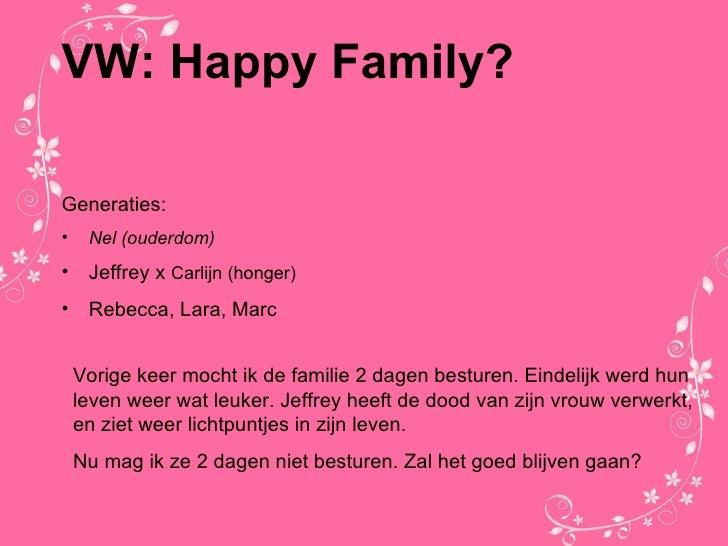 VW: Happy Family? <ul><li>Generaties: </li></ul><ul><li>Nel (ouderdom) </li></ul><ul><li>Jeffrey x  Carlijn (honger) </li>...