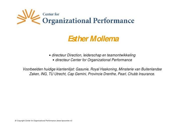 Esther Mollema                                            directeur Direction, leiderschap en teamontwikkeling            ...