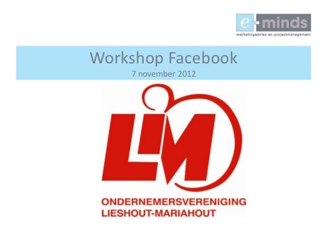 Workshop Facebook    7 november 2012