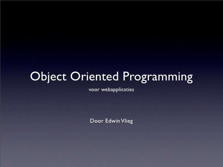 Object Oriented Programming for web applications