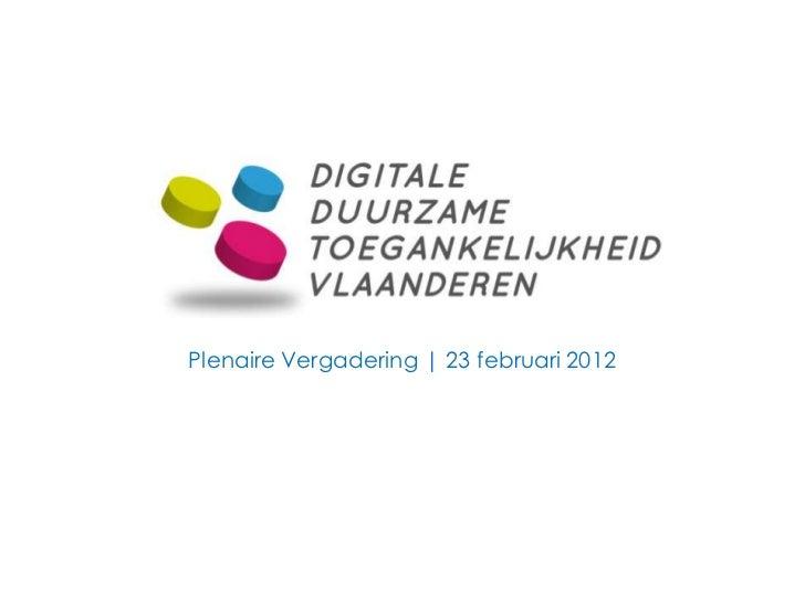 Plenaire Vergadering | 23 februari 2012