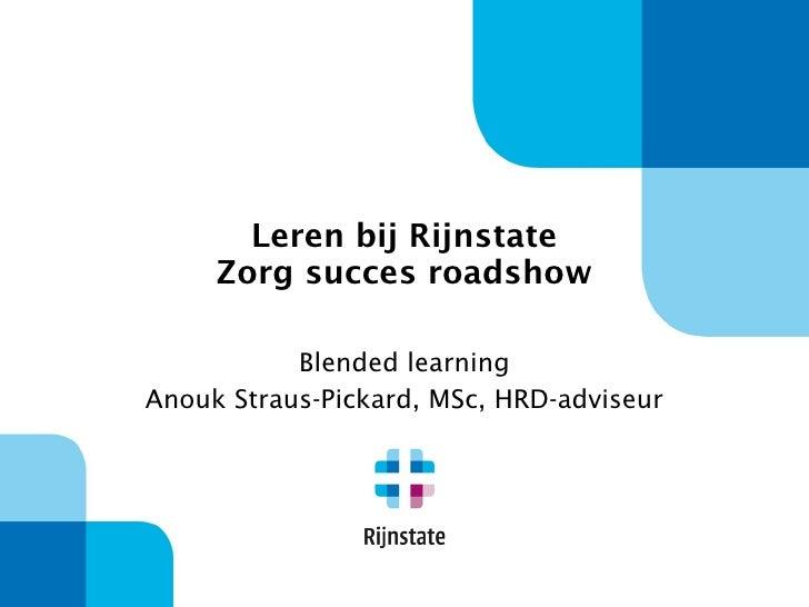 Anouk Straus Rijnstate voor ZorgSucces Roadshow