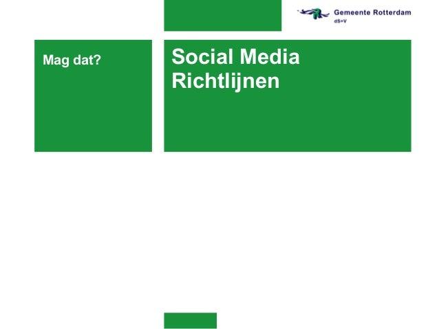 Presentatie social media richtlijnen 2