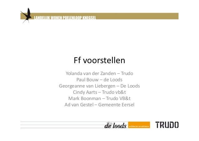 Ff voorstellen  Yolanda van der Zanden – Trudo       Paul Bouw – de LoodsGeorgeanne van Liebergen – De Loods      Cindy Aa...