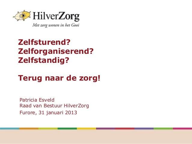 Zelfsturend?Zelforganiserend?Zelfstandig?Terug naar de zorg!Patricia EsveldRaad van Bestuur HilverZorgFurore, 31 januari 2...