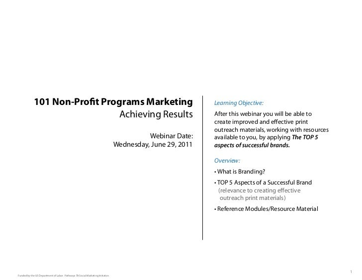 101 Non-Pro t Programs Marketing                                                               Learning Objective:        ...