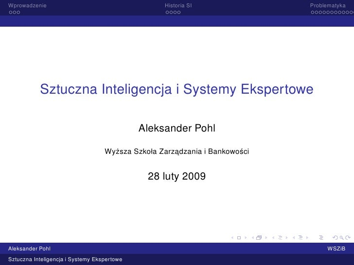 Sztuczna Inteligencja i Systemy Ekspertowe - wprowadzenie