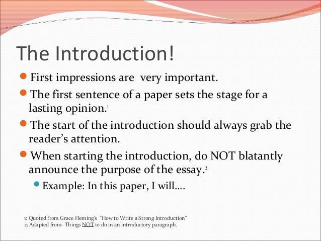 how to write introduction paragraph 24 introduction and conclusion these represent the most serious omission students regularly make every essay or paper designed to be persuasive needs a paragraph at the very outset introducing both the subject at hand and the thesis which is being advanced it also needs a final paragraph summarizing what's been said and driving the author's.