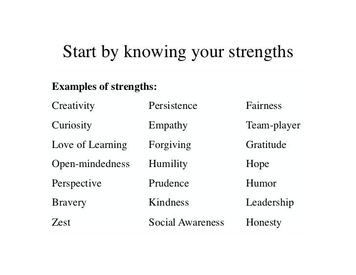 what are your strengths examples