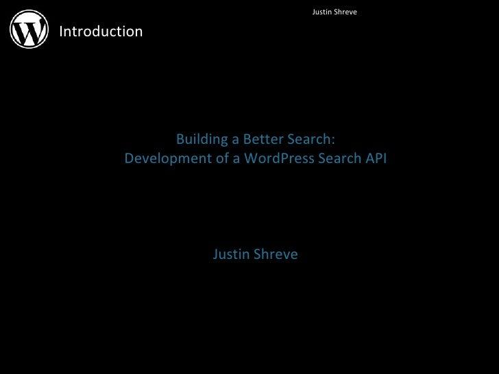Building a Better Search: Development of a WordPress Search API