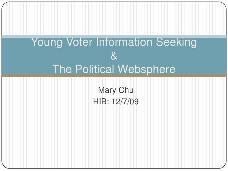 Mary Chu<br />HIB: 12/7/09<br />Young Voter Information Seeking &The Political Websphere<br />