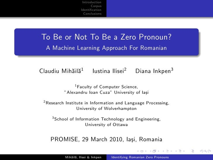To Be or Not to be a Zero Pronoun: A Machine Learning Approach for Romanian