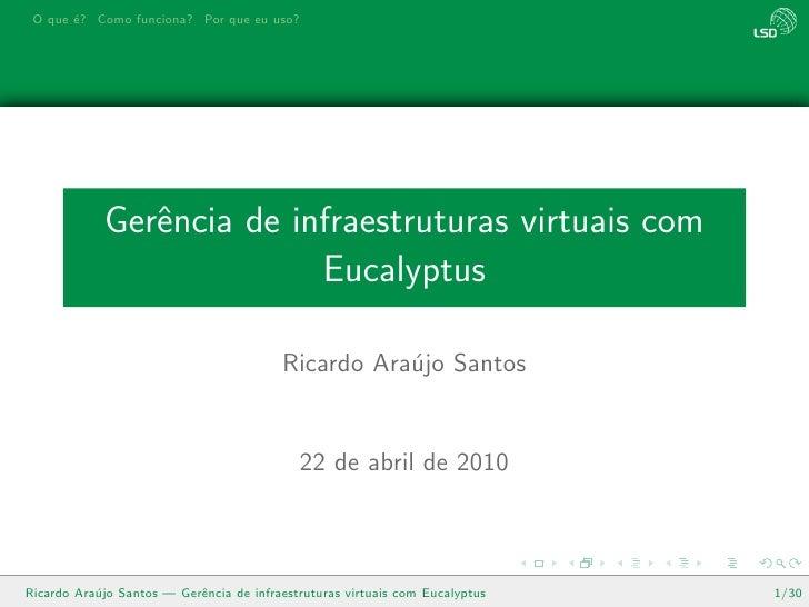 Gerência de infraestruturas virtuais com Eucalyptus