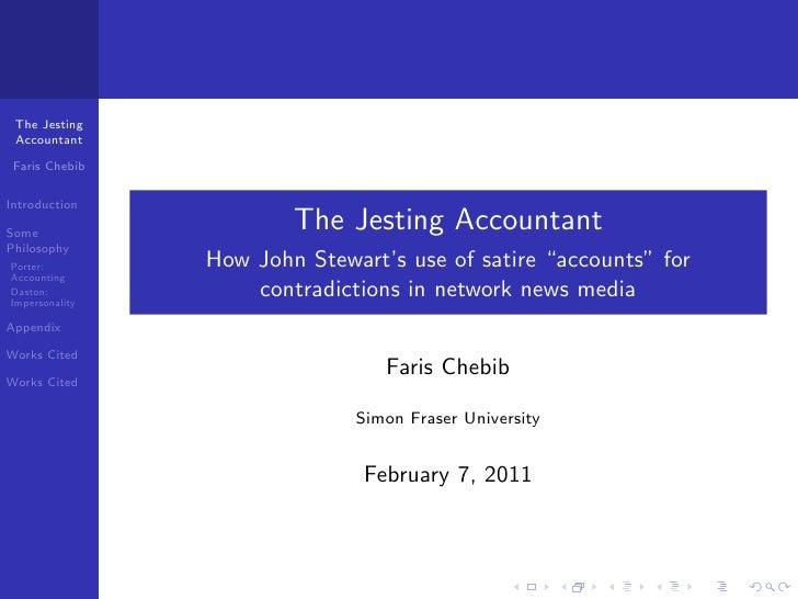The Jesting Accountant Faris ChebibIntroductionSome                        The Jesting AccountantPhilosophyPorter:        ...