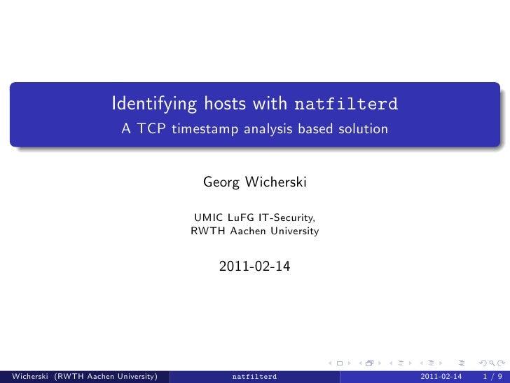 Identifying hosts with natfilterd