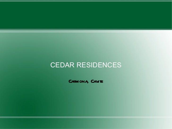 CEDAR RESIDENCES Carmona, Cavite