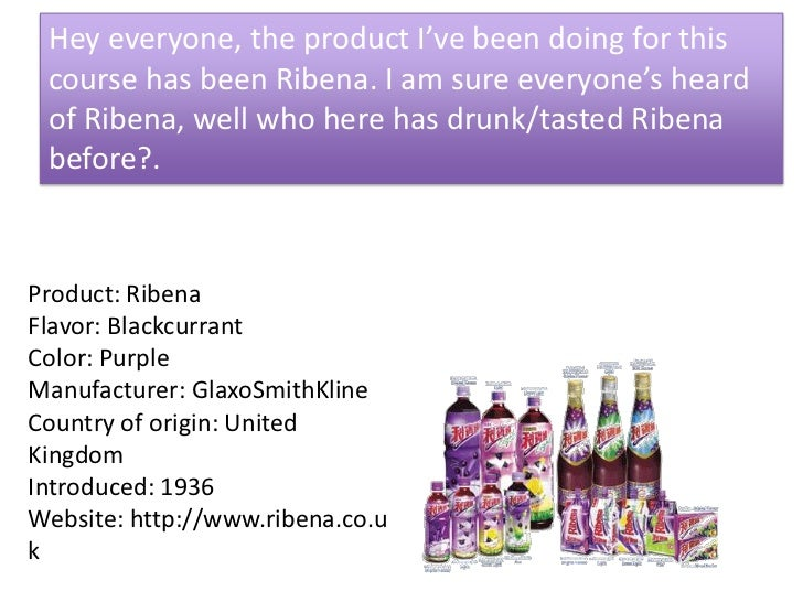 Hey everyone, the product I've been doing for this course has been Ribena. I am sure everyone's heard of Ribena, well who ...