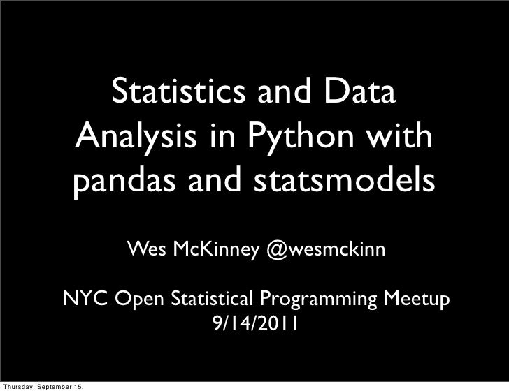 Data Analysis and Statistics in Python using pandas and statsmodels