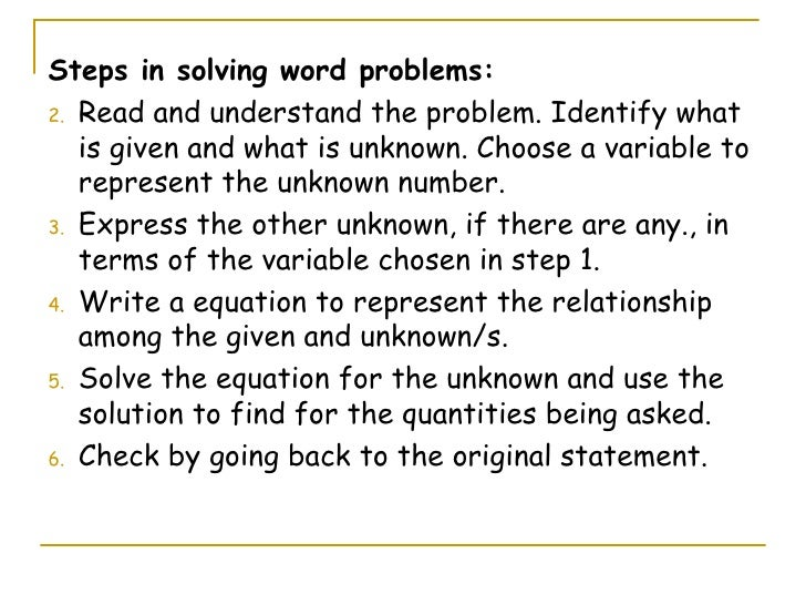 Problem solving involving linear equations