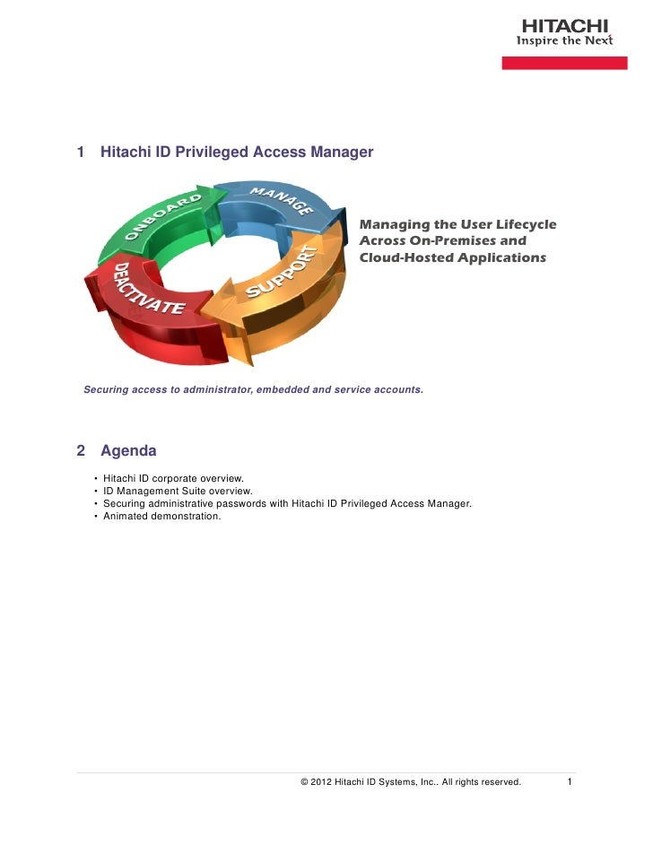 1 Hitachi ID Privileged Access Manager                                                            Managing the User Lifecy...