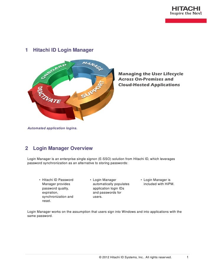 1 Hitachi ID Login Manager                                                           Managing the User Lifecycle          ...