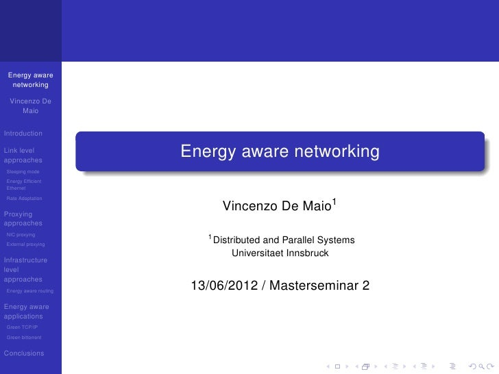 Energy aware networking