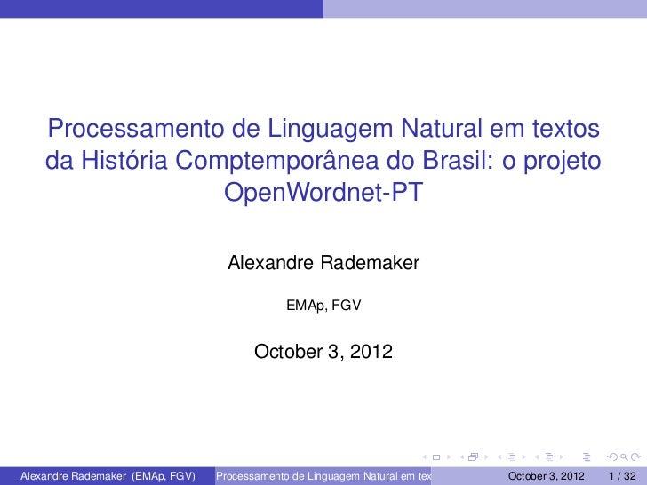 Processamento de Linguagem Natural em textos    da História Comptemporânea do Brasil: o projeto                   OpenWord...