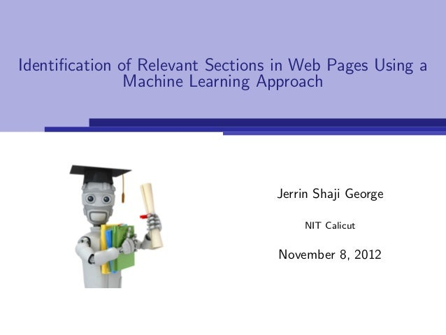 Identification of Relevant Sections in Web Pages Using a               Machine Learning Approach                           ...