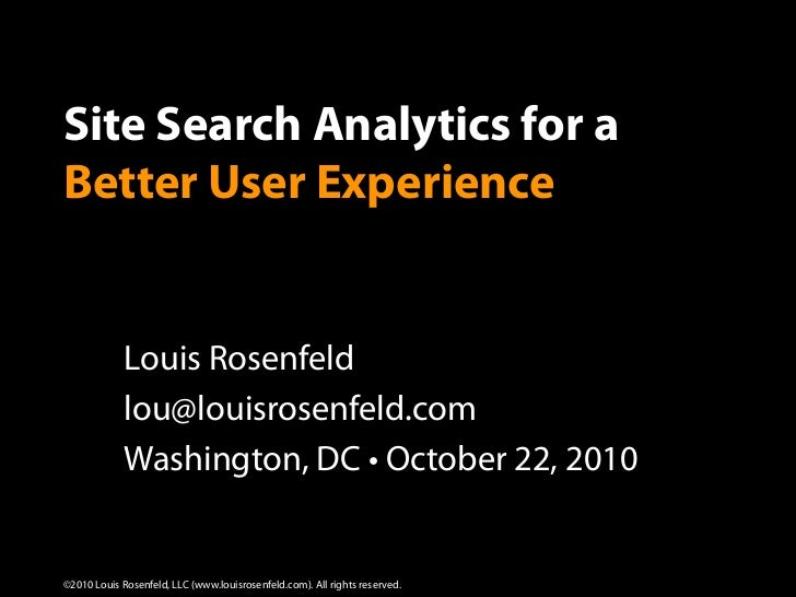 Site Search Analytics Workshop Presentation