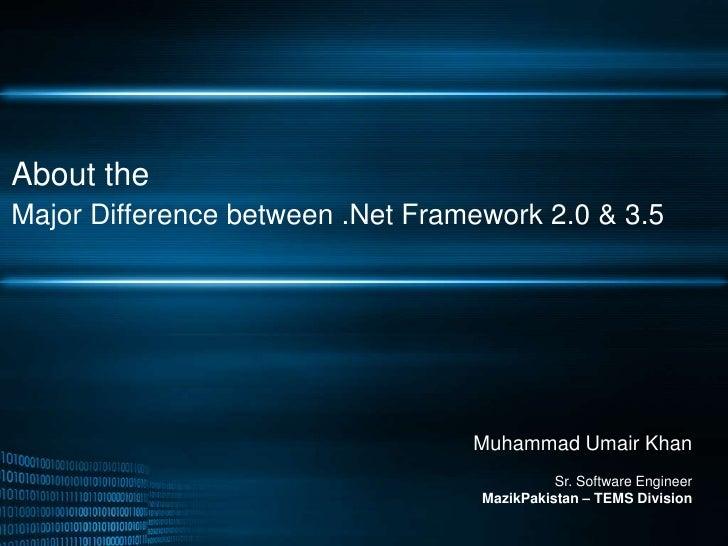 About theMajor Difference between .Net Framework 2.0 & 3.5<br />Muhammad Umair Khan<br />Sr. Software EngineerMazikPakista...