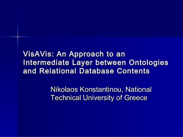 VisAVis: An Approach to anVisAVis: An Approach to an Intermediate Layer between OntologiesIntermediate Layer between Ontol...