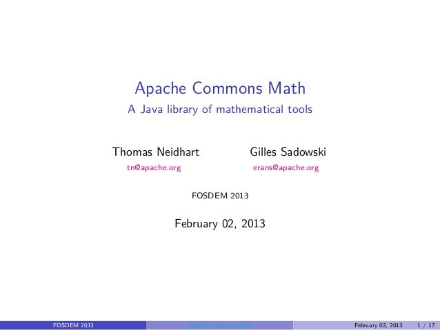 Apache Commons Math @ FOSDEM 2013