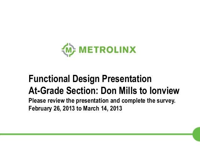 Functional Design Presentation At-Grade Section: Don Mills