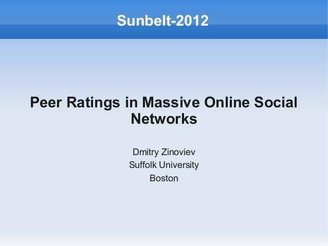 Peer Ratings in Massive Online SocialNetworksDmitry ZinovievSuffolk UniversityBostonSunbelt-2012