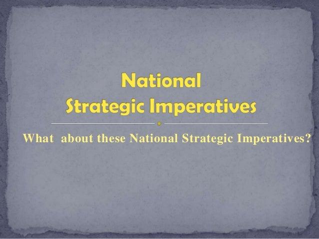 National Strategic Imperatives Presentation
