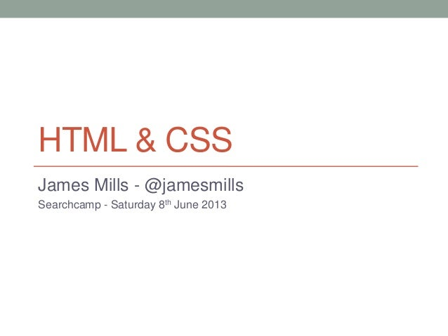 HTML/CSS Workshop @ Searchcamp