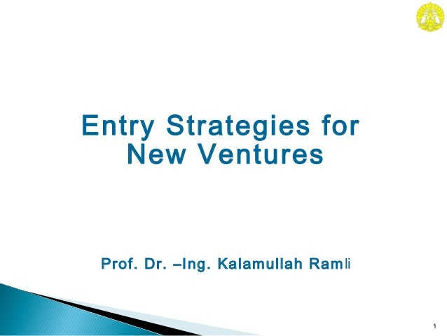 Prof. Dr. –Ing. Kalamullah Ramli1Entry Strategies forNew Ventures