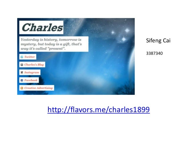 http://flavors.me/charles1899 Sifeng Cai 3387340