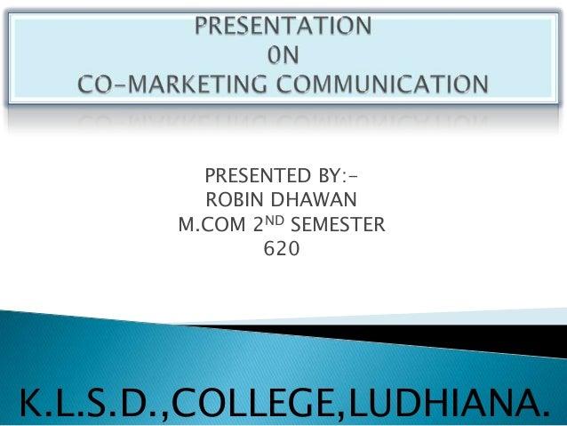 Presentation on the topic Co-marketing Communication