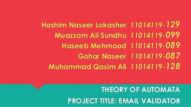 Hashim Naseer Lokasher Muazzam Ali Sundhu Haseeb Mehmood Gohar Naseer Muhammad Qasim Ali  11014119-129 11014119-099 110141...