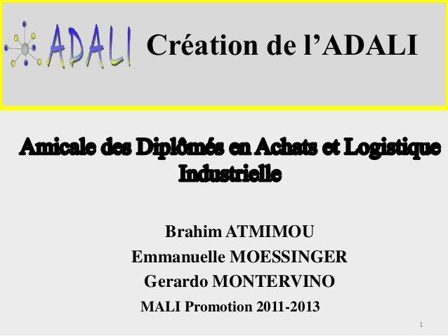 Création de l'ADALI  Brahim ATMIMOU  Emmanuelle MOESSINGER  Gerardo MONTERVINO  MALI Promotion 2011-2013  1