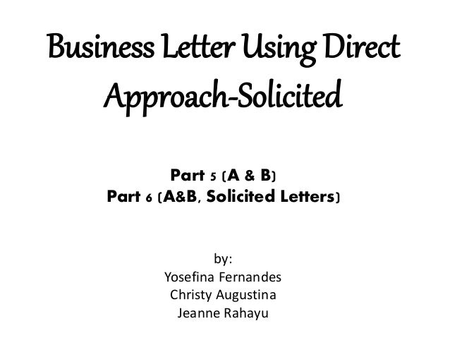 Business Letter Using Direct Approach