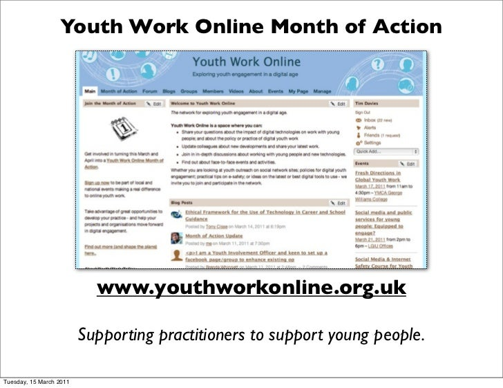 Youth Work Online Month of Action                           www.youthworkonline.org.uk                         Supporting ...