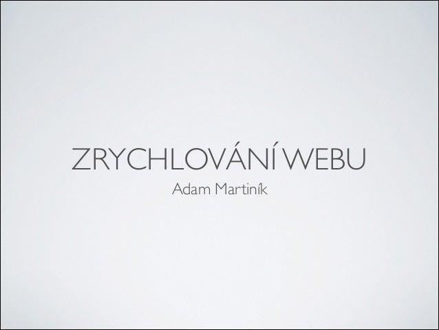 ZRYCHLOVÁNÍ WEBU Adam Martiník