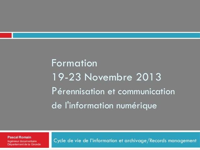 Formation 19-23 Novembre 2013 Pérennisation et communication de l'information numérique  Pascal Romain Ingénieur documenta...