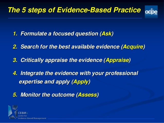 evidence based practice in management of Evidence –based practice is a process through which scientific evidence is identified, appraised, and applied in health care interventions this practice obliges nursing experts to depend on logical research and confirmation more frequently than experience or instinct.