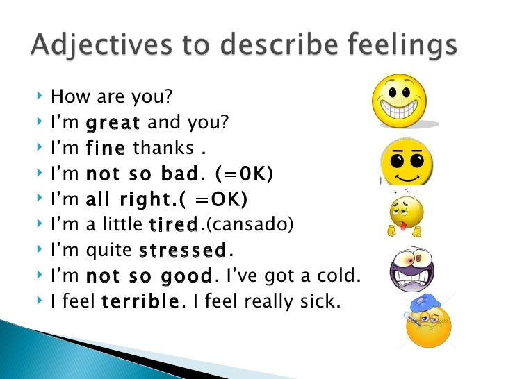 Presentation Adjectives To Describe Feelings