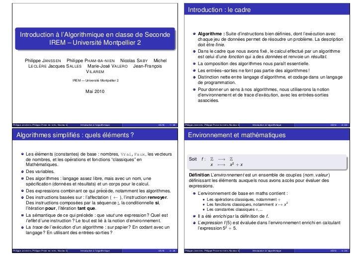 Introduction : le cadre                   `      Introduction a l'Algorithmique en classe de Seconde                      ...