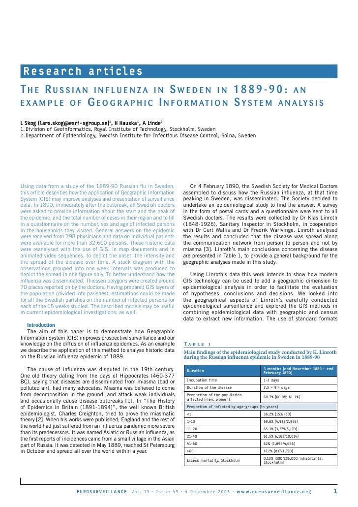 R e s e a r c h a r ti c l e s The Russian influenza in sweden in 1889-90: an e x a m p l e o f G e o G R a p h i c i n f ...